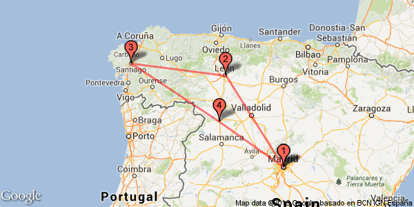 Train tour from Madrid to Santiago de Compostela