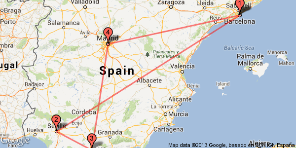 Travel to Barcelona Madrid Seville and Malaga on high speed – Train Travel In Spain Map