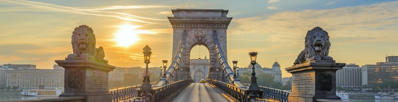 Cross the Chain Bridge in Budapest
