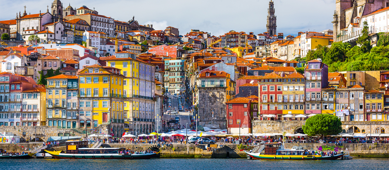 Old city skyline on the Douro river in Porto
