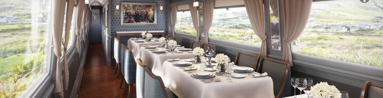 Dine on fine Irish cuisine and share stories with fellow passengers