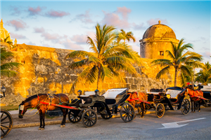 Carriages in front of fortified walls of Cartagena