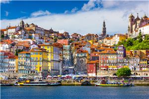 View of the old city skyline in Porto from the Douro River