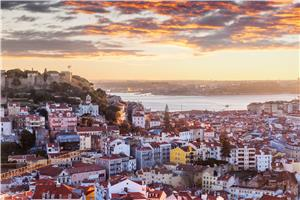 Panoramic sunset of Lisbon from Belvedere of Santa Luzia