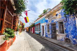 Colorfully Painted Steet in Cartagena