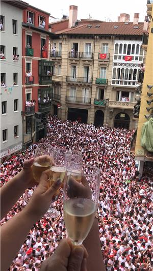 Enjoy a glass of champagne on the VIP balcony during the opening ceremony