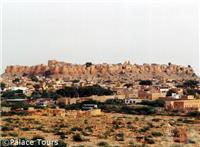 Jaisalmer's stone forts rise in the distance