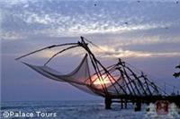 Chinese fishing nets in the sunset