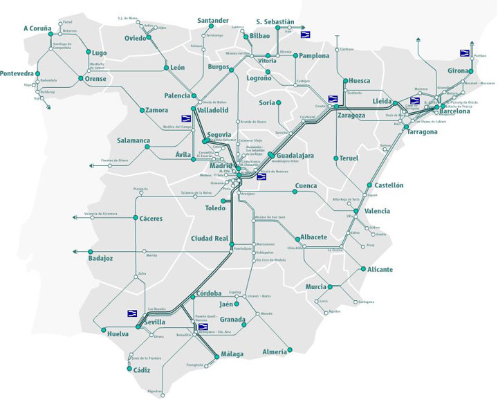 Train Tours in Spain by Renfe – Train Travel In Spain Map