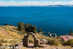 A view of Titicaca lake from Taquile Island