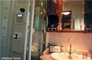 En-suite bathroom on board the train