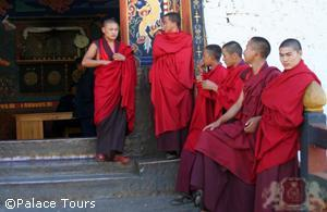 Monks outside of Paro Dzong