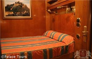 Double-bedded cabin on board the train