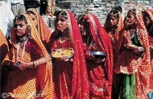 Colorfully attired women
