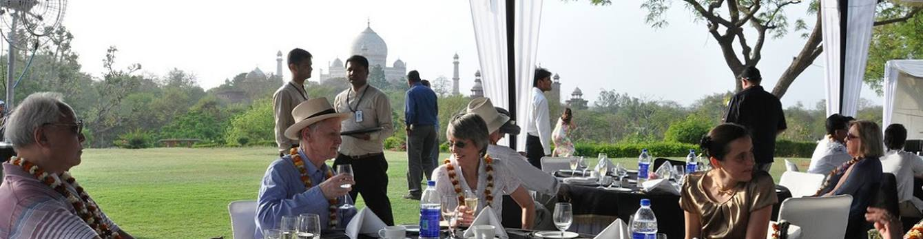 Sip champagne at breakfast with a view of the awe-inspiring Taj Mahal