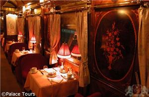 Dining car onboard the train