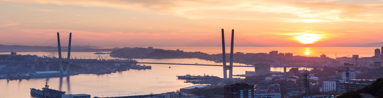 Sunset over the bridge in Vladivostok