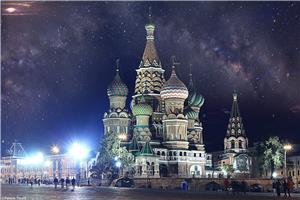 Stunning view of St. Basil's Cathedral at night