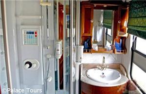 En-suite bathroom on board the train