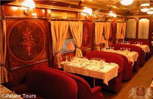 Dining car on board Al-Andalus train